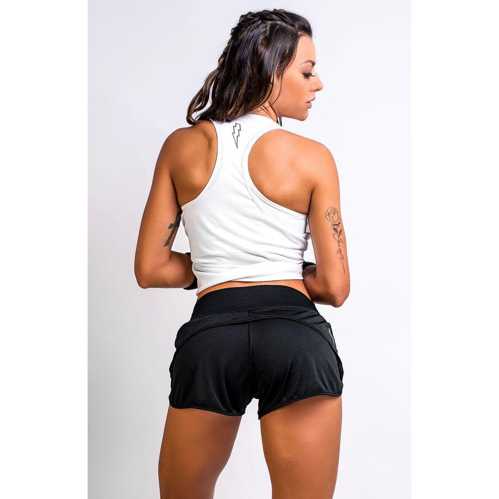 Short Fitness Feminino Preto Dry Fit Flash Up