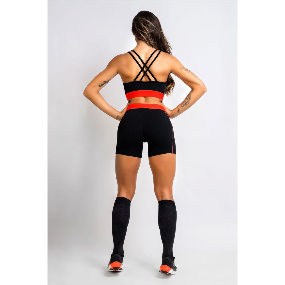 Short Fitness Feminino Preto Laranja Level Up