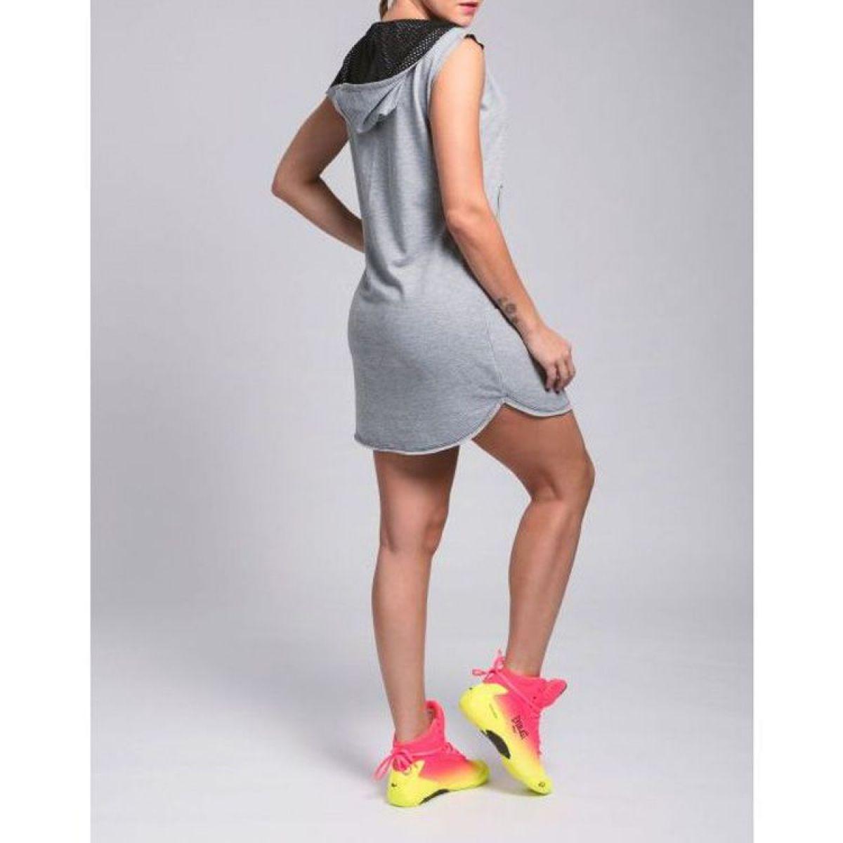 Vestido Moletinho Cinza Mescla Fashion