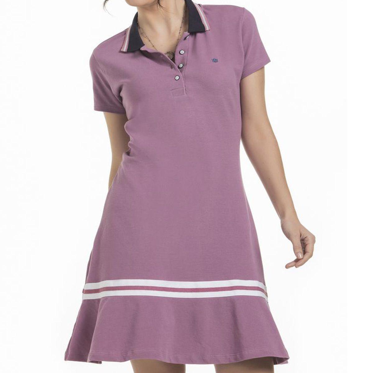 Vestido Polo Piquet Rosa