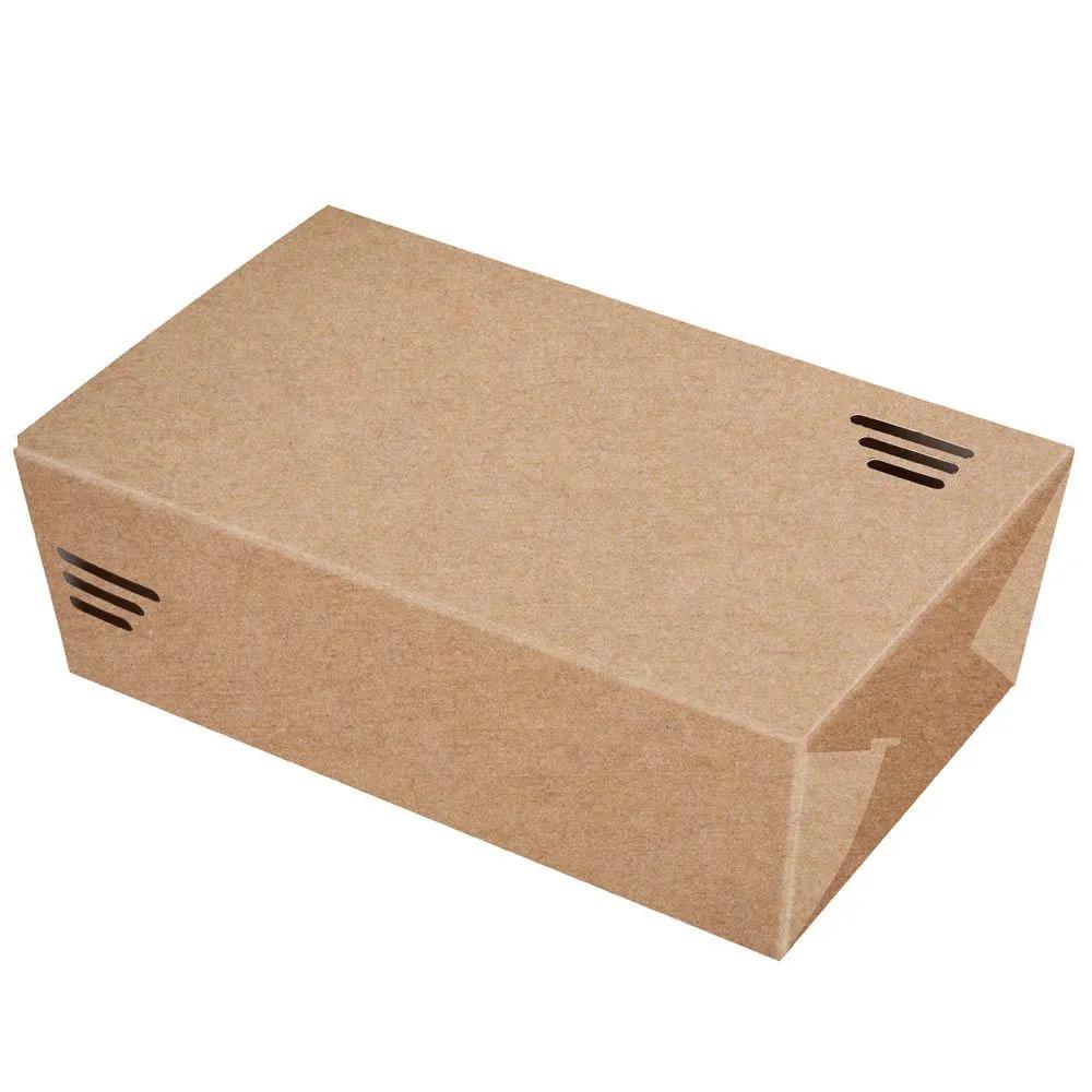 Embalagem para porções em papel kraft - Caixa grande p/ 850g - 100 unidades