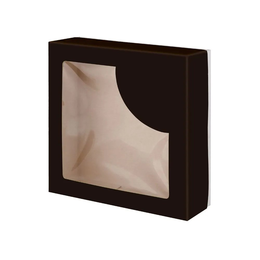 Embalagem para doces e salgados com visor - Linha black - 50 unidades
