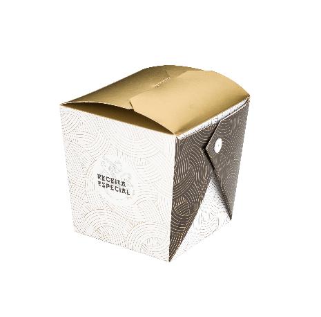 Embalagem caixa box para comida oriental - Tamanho M - Especial para você - Dourada - 100 unidades