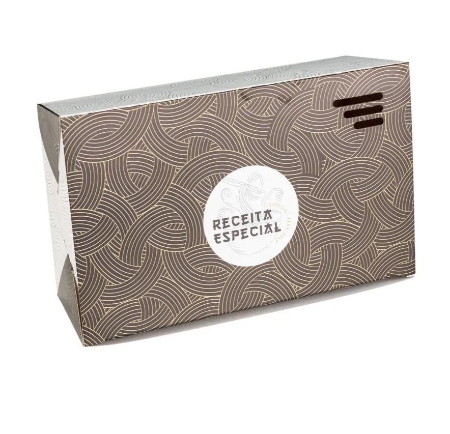 Embalagem caixa box para comida oriental - Tamanho G - Receita especial - Dourada - 100 unidades