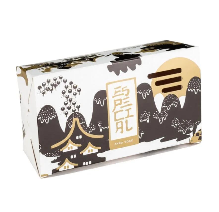 Embalagem caixa com respiro para comida oriental - Tamanho P - Especial para você - Dourada - 100 unidades