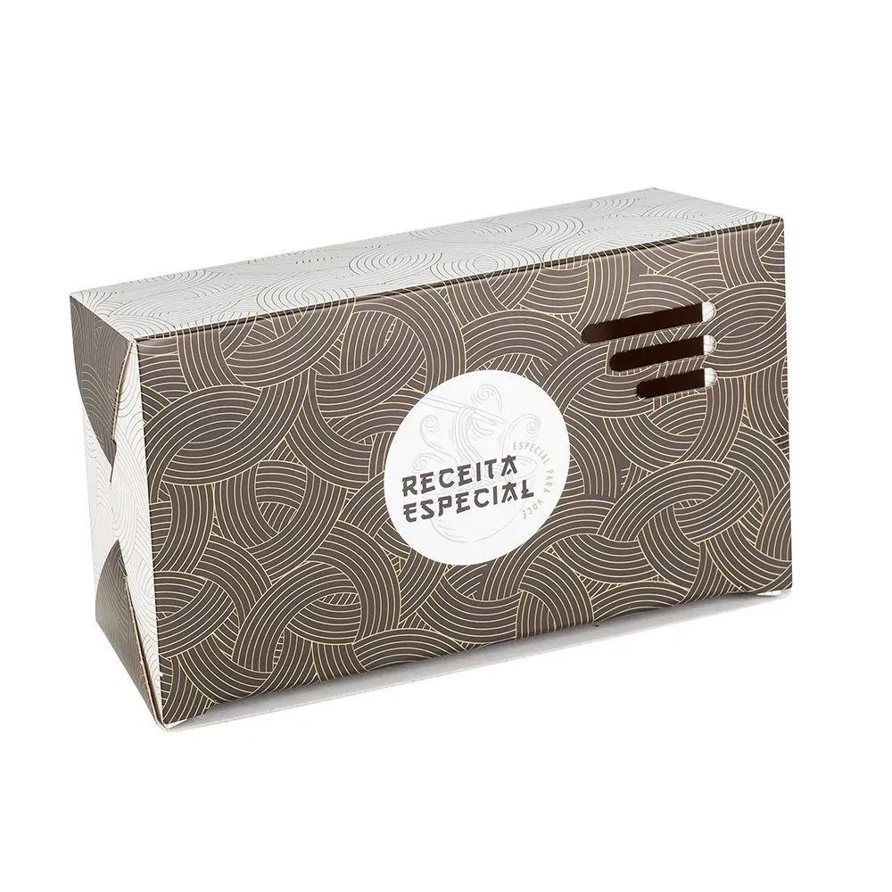 Embalagem caixa com respiro para comida oriental - Tamanho P - Receita especial - Dourada - 100 unidades