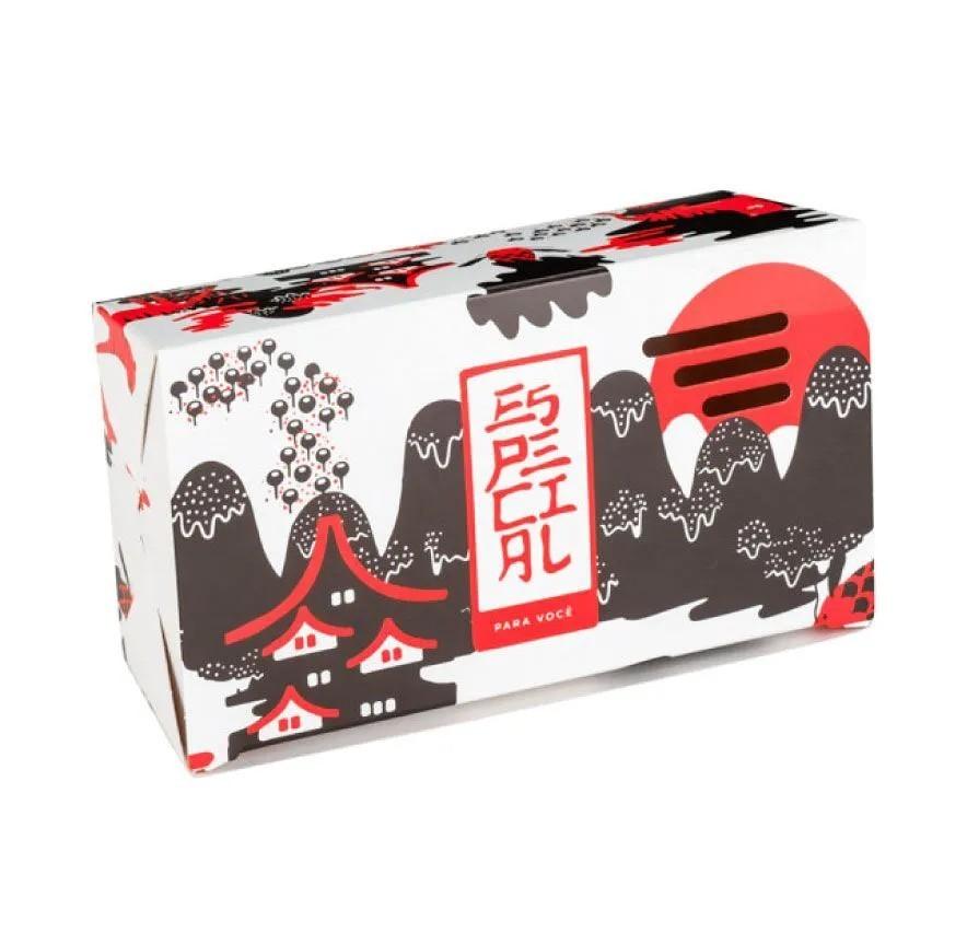 Embalagem caixa com respiro para comida oriental - Tamanho P - Especial para você - Vermelha - 100 unidades