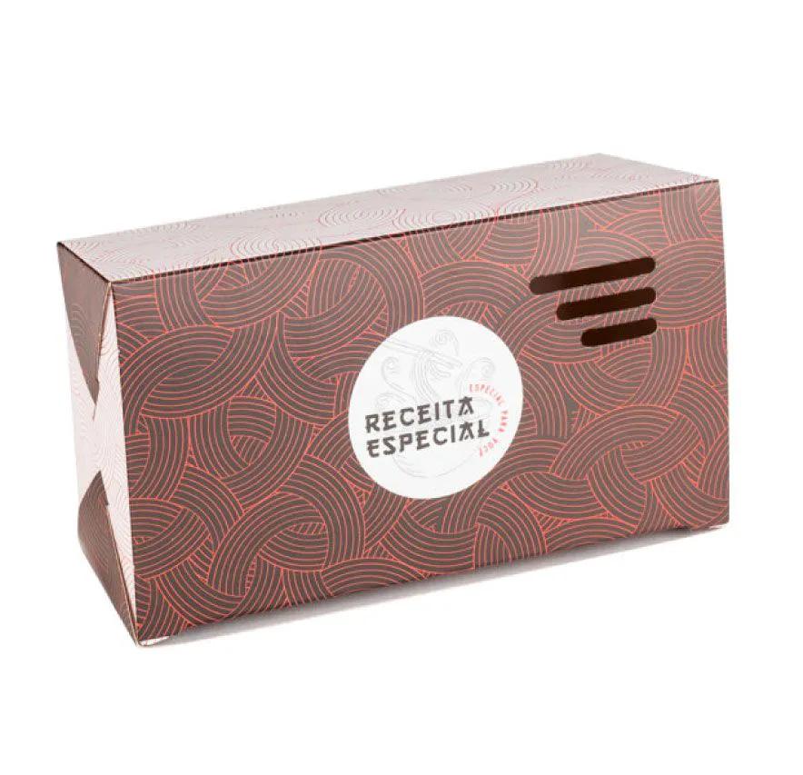 Embalagem caixa com respiro para comida oriental - Tamanho P - Receita especial - Vermelha - 100 unidades