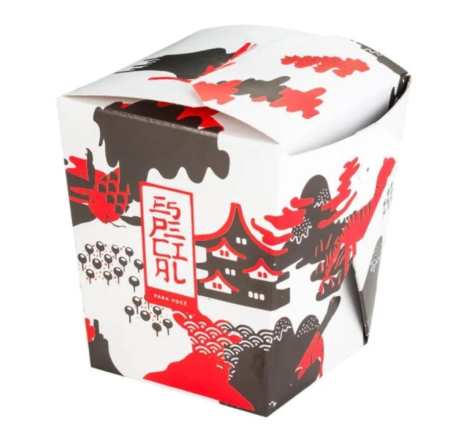 Embalagem caixa box com presilha para comida oriental - Tamanho G - Especial para você - Vermelho - 100 unidades