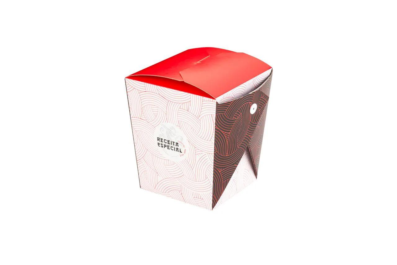 Embalagem caixa box com presilha para comida oriental - Tamanho G - Receita especial - Vermelho - 100 unidades