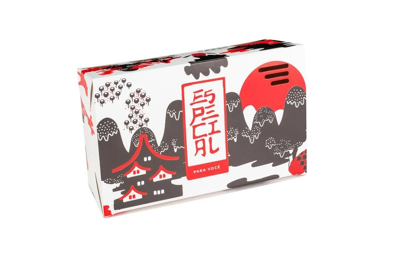 Embalagem caixa box para comida oriental - Tamanho G - Especial para você - Vermelha - 100 unidades