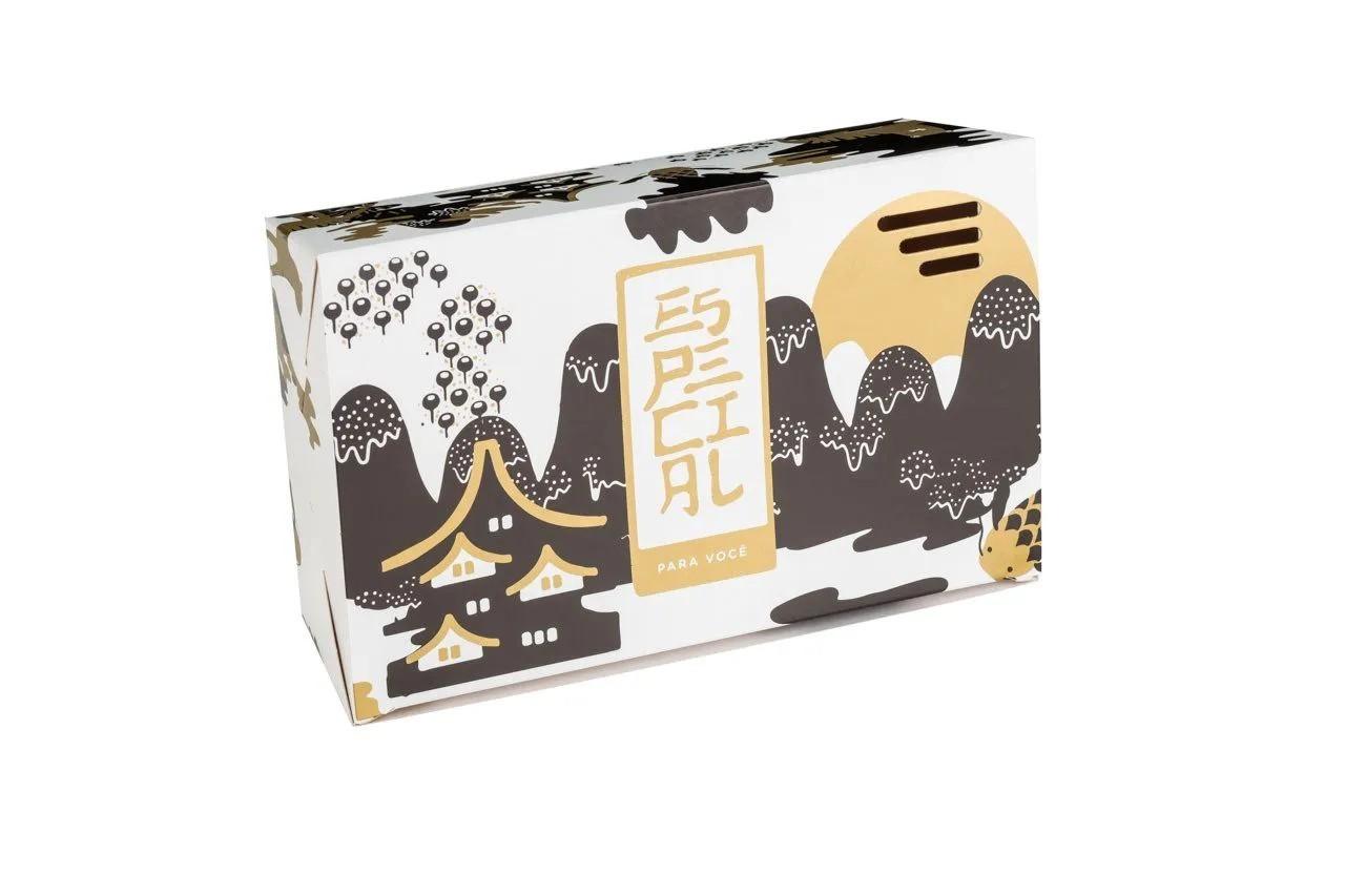 Embalagem caixa box para comida oriental - Tamanho G - Especial para você - Dourada - 100 unidades