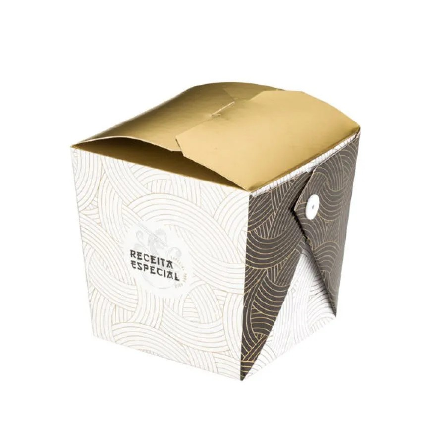 Embalagem caixa box com presilha para comida oriental - Tamanho P - Receita especial - Dourado - 100 unidades