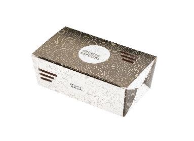 Embalagem caixa com respiro para comida oriental - Tamanho M - Receita especial - Dourada - 100 unidades