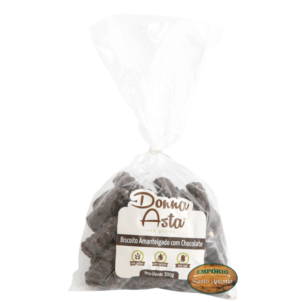 Biscoito Amanteigado de Chocolate - Sem Glúten - Donna Asta