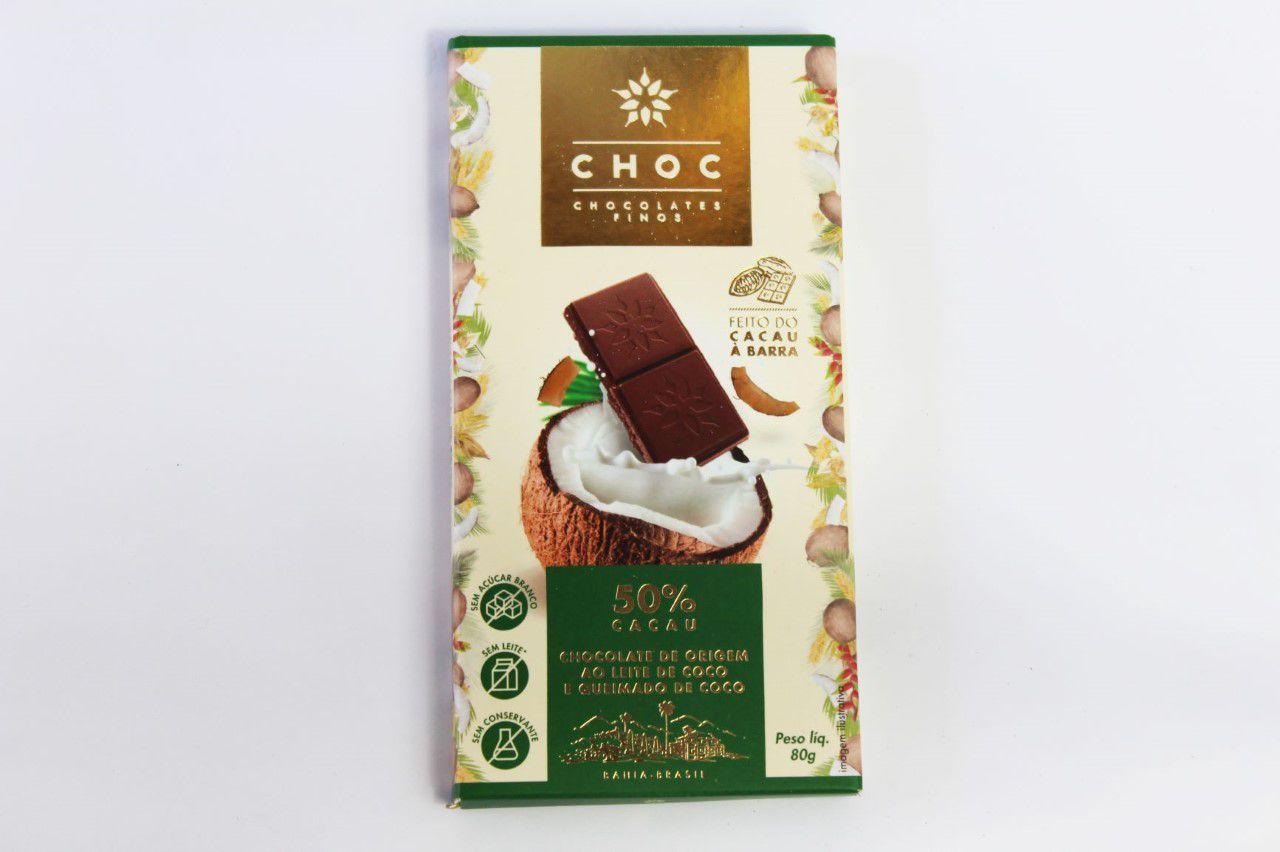 Choc - Chocolates Finos ao Leite de Coco 50% Cacau 80g