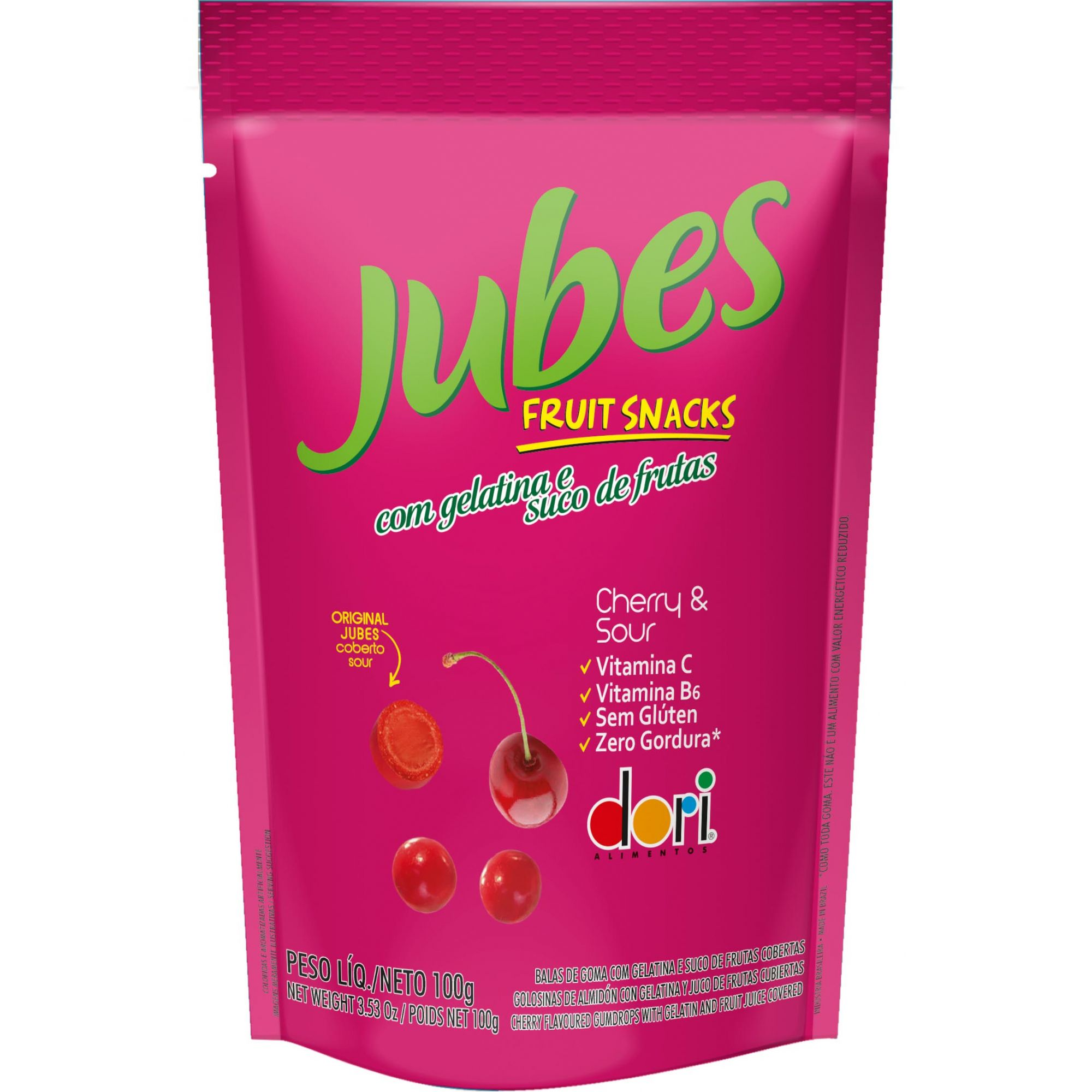 Dori - Jubes Fruit Snacks Sabor Cereja 100g