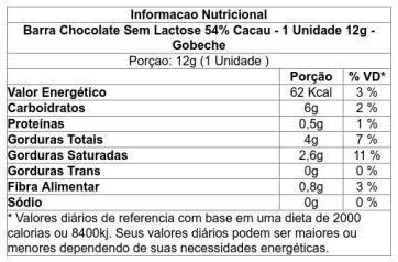 Gobeche - Tablete de Chocolate Puro Sem Lactose 54% Cacau 12g