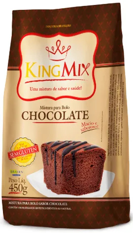 King Mix - Mistura para Bolo sem glúten sabor Chocolate 450g