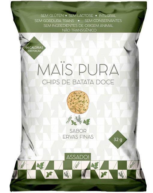Mais Pura - Chips de Batata Doce Sabor Ervas Finas 32g