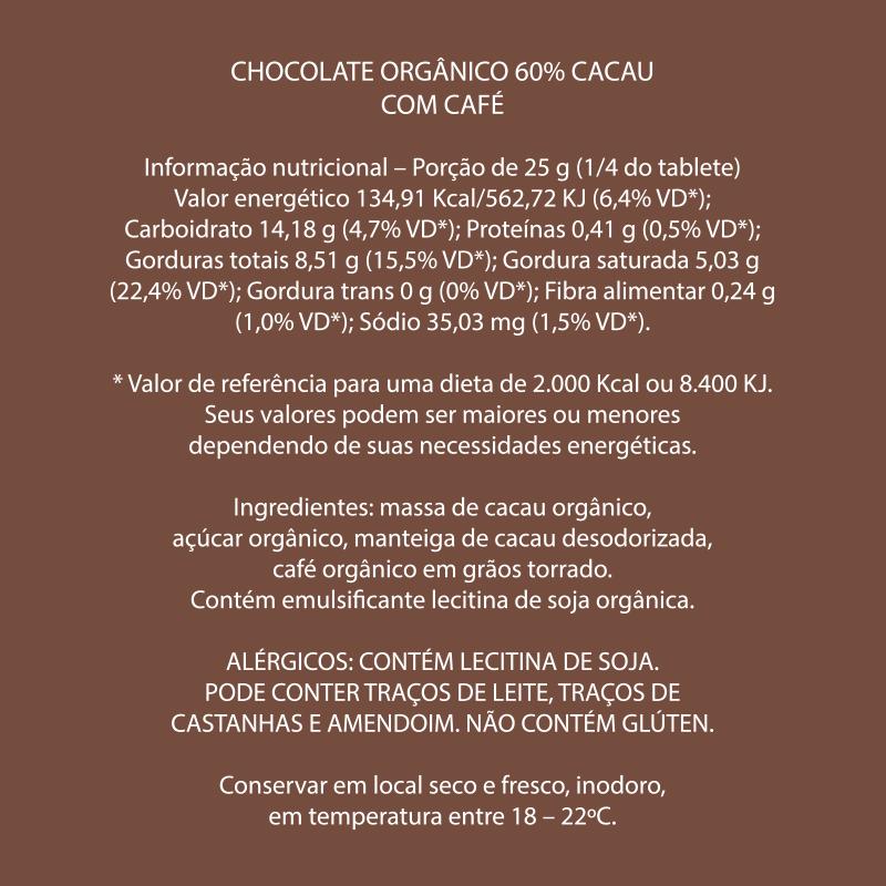 Mendoá - Chocolate Orgânico 60% Café
