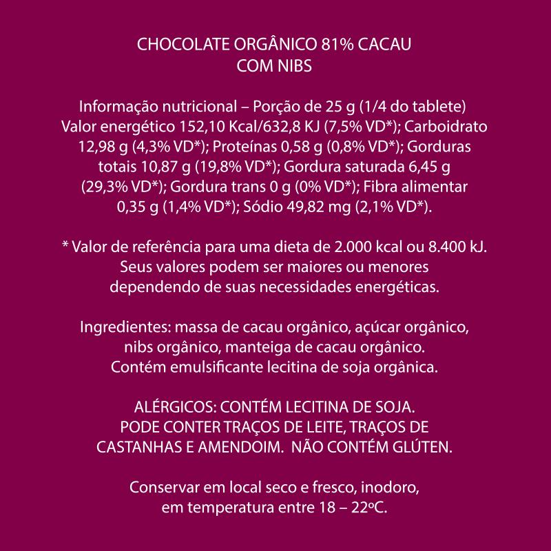 Mendoá - Chocolate Orgânico Nibs 81 %