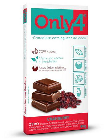 Only 4 - Tablete de Chocolate Cranberry 80g