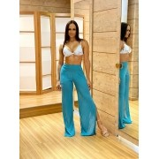 Calça Pantalona Fendas Azul Turquesa