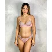 Conjunto Bojo Poá Tanga Rosa