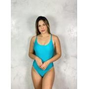 Maiô Alça Trama Azul Turquesa Metalizado