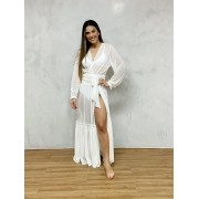Vestido Longo Manga Elástico Branco