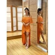 Vestido Mullet Babado Coral