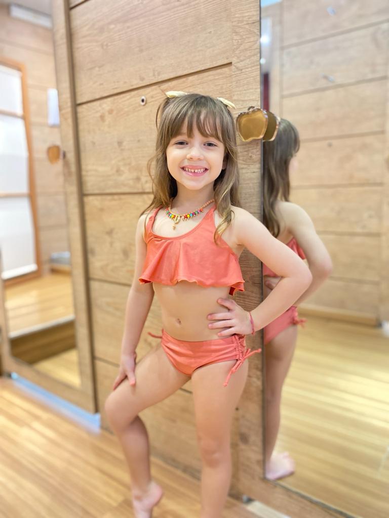 Biquíni Infantil Cropped Babado