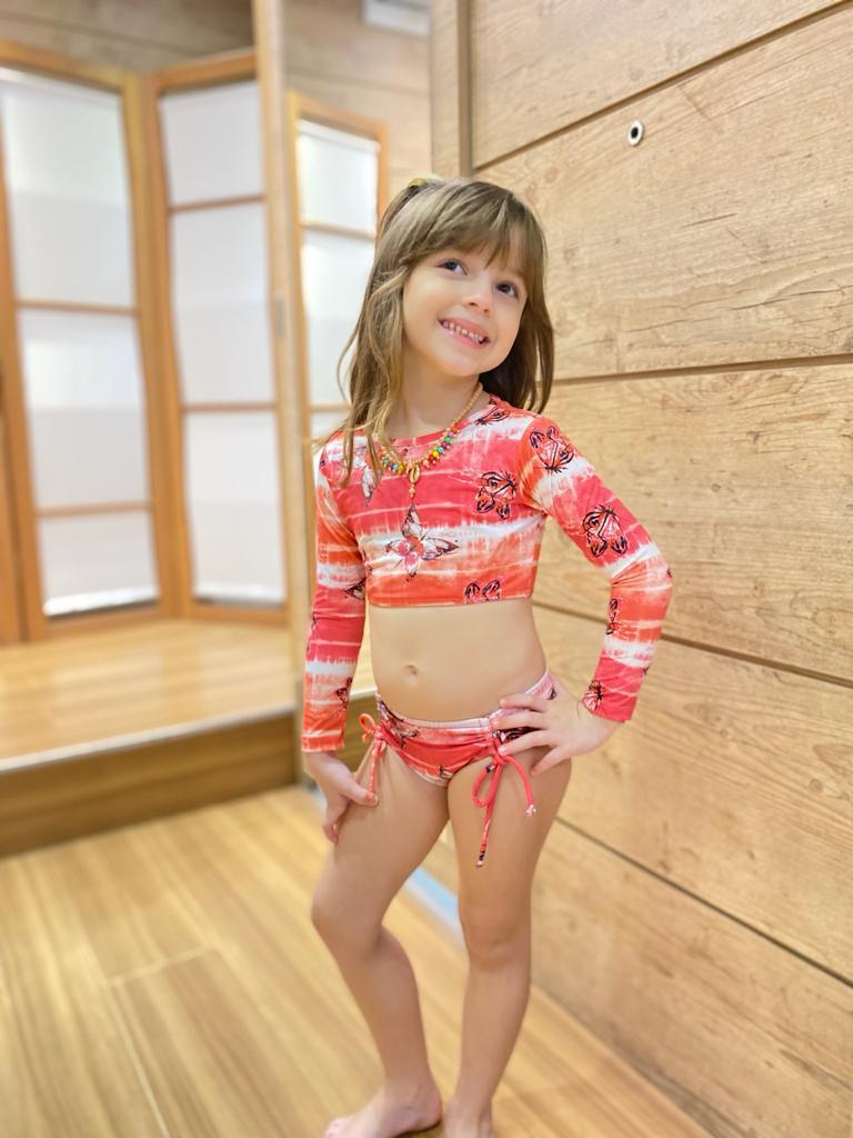Biquíni Infantil Cropped Manga Longa Butterfly