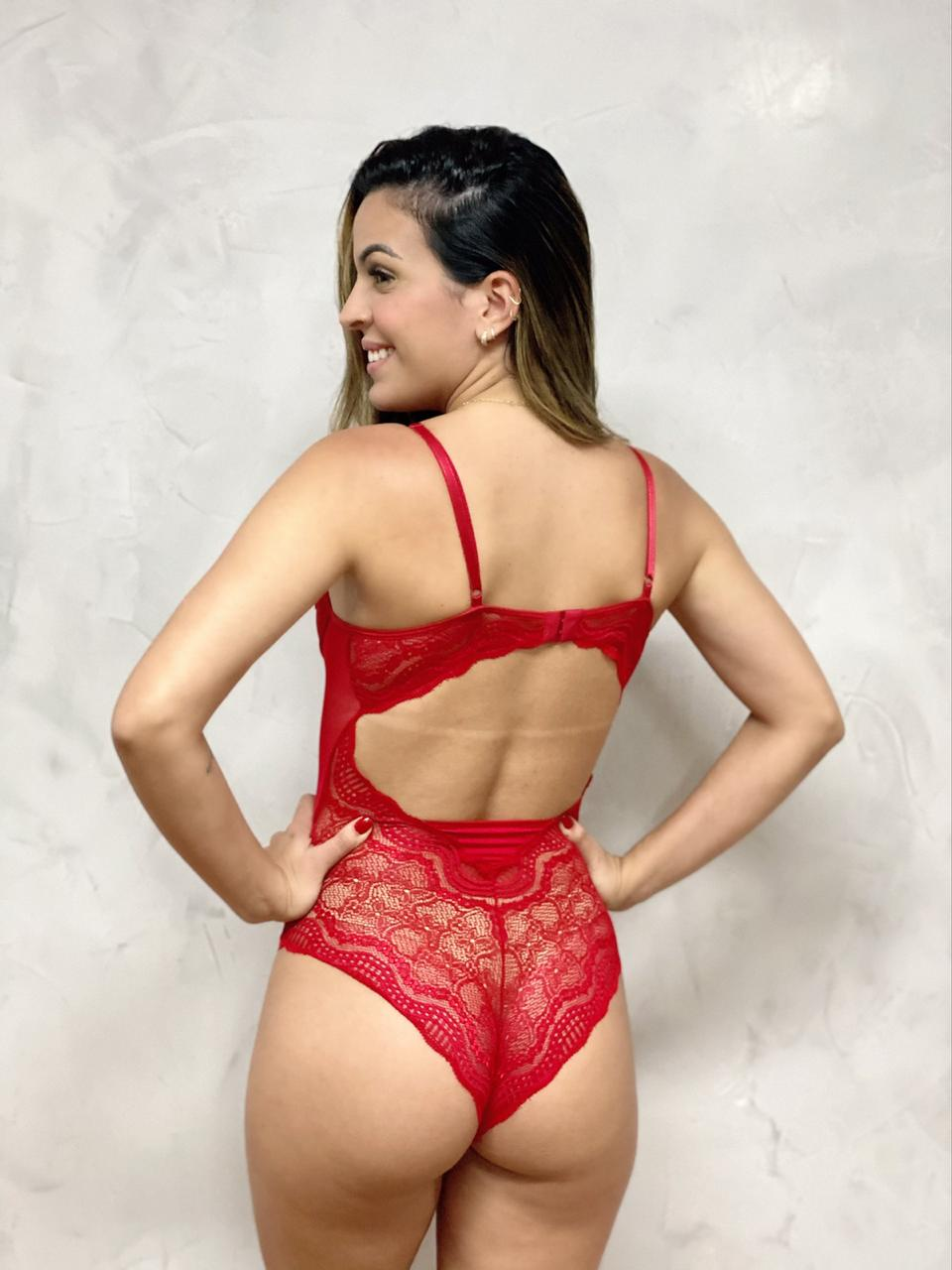 Body Tule Renda Vermelho  - RMCE BRAZIL