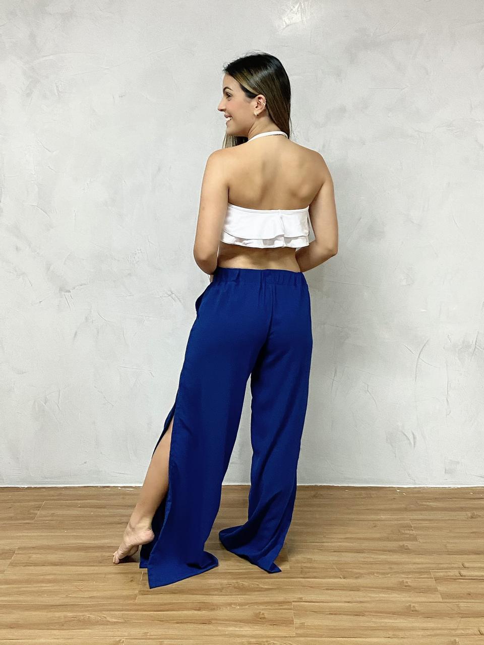 Calça Pantalona Fendas Azul   - RMCE BRAZIL