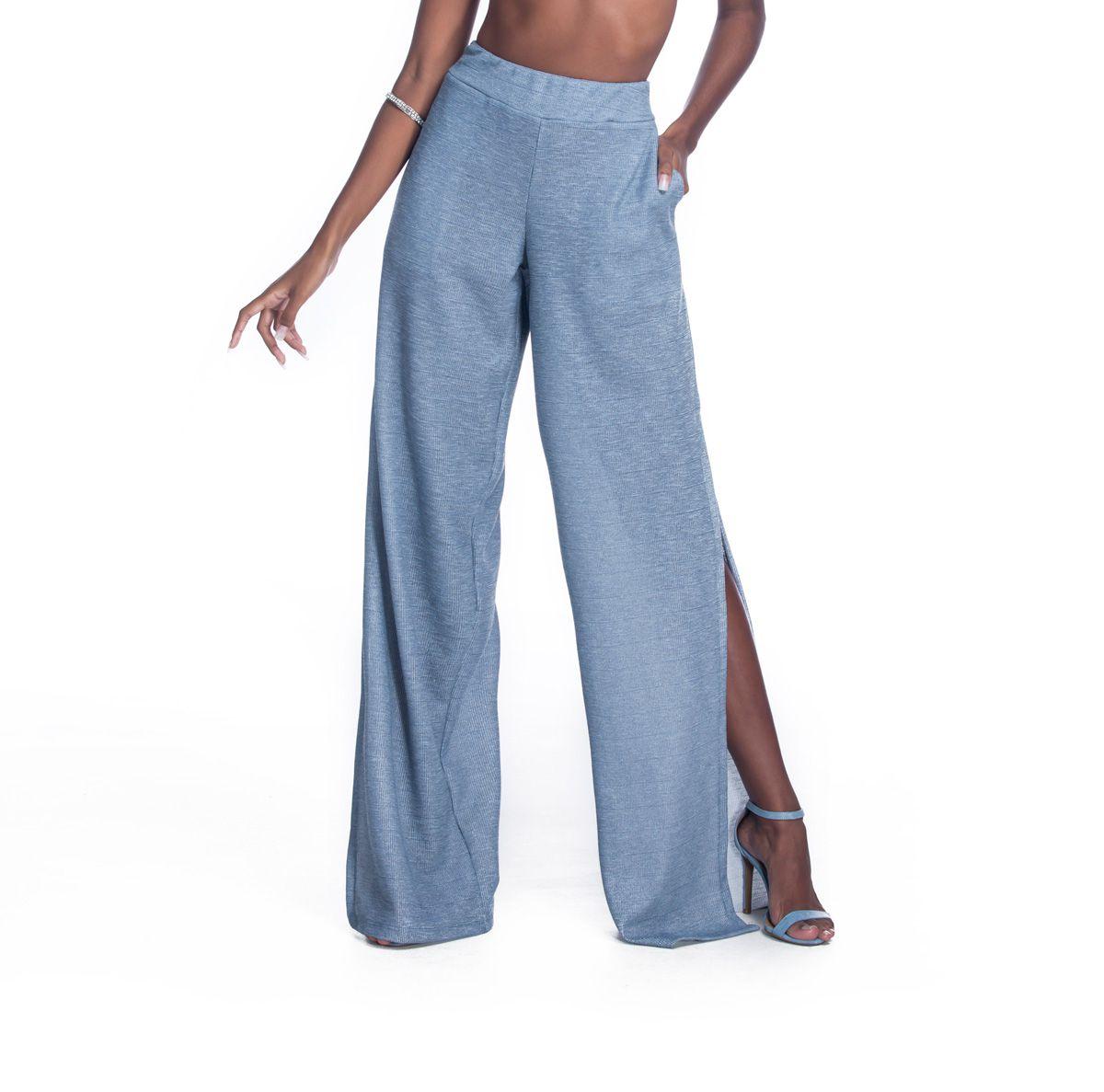 Calça Pantalona Fendas Azul Petróleo   - RMCE BRAZIL