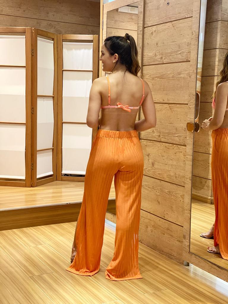 Calça Pantalona Fendas Coral  - RMCE BRAZIL
