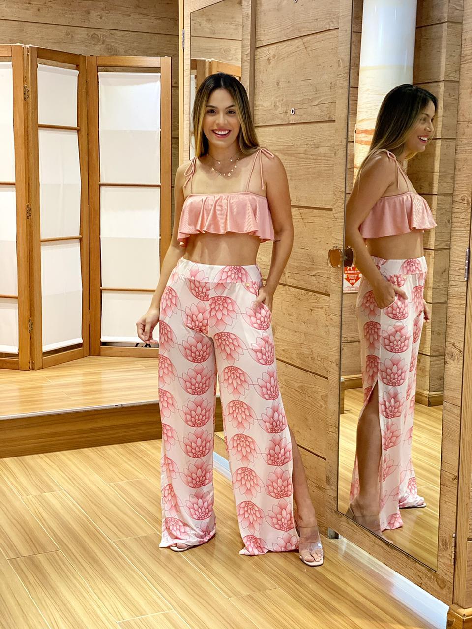 Calça Pantalona Fendas Flor de Lotus