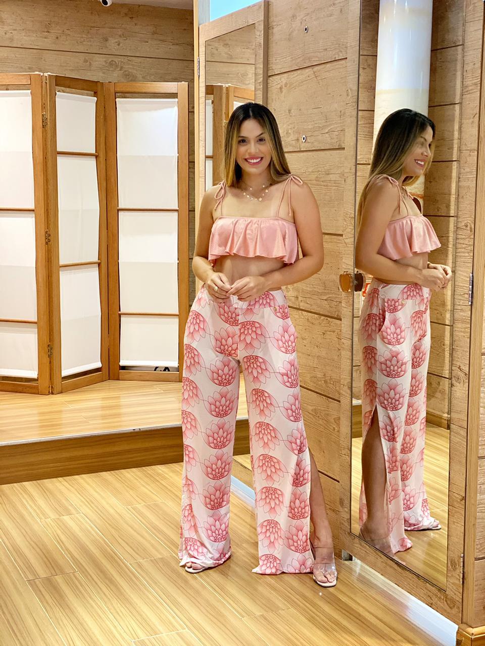 Calça Pantalona Fendas Flor de Lotus   - RMCE BRAZIL