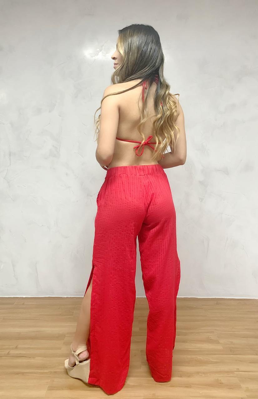 Calça Pantalona Fendas Vermelha   - RMCE BRAZIL