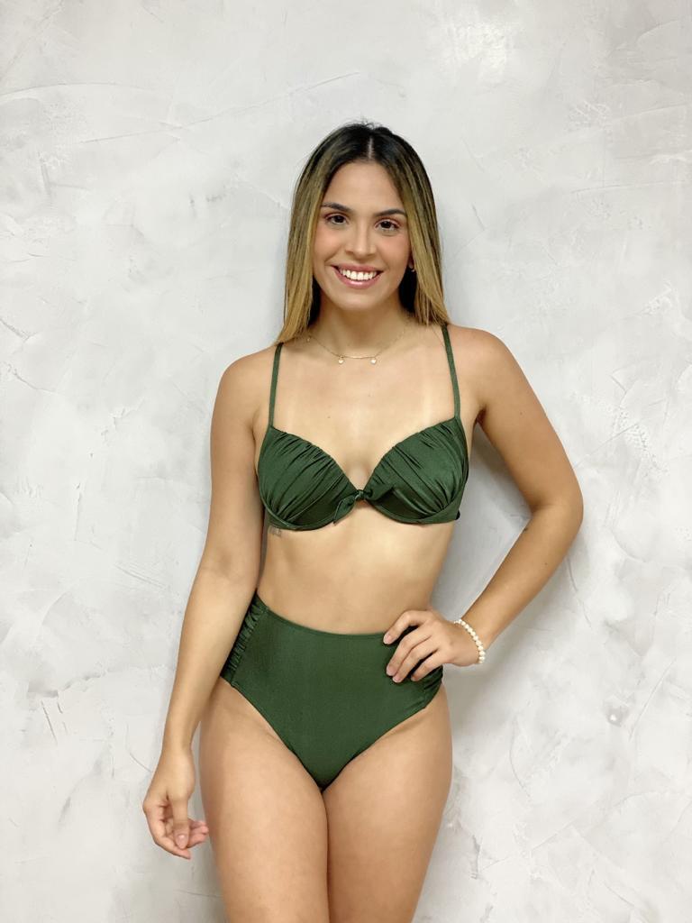 Calcinha Alta Drapeada Verde Metalizada
