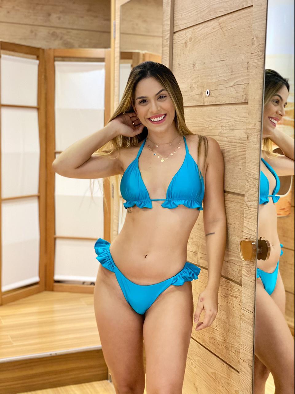 Calcinha Biquíni Babado Lateral Azul Turquesa   - RMCE BRAZIL
