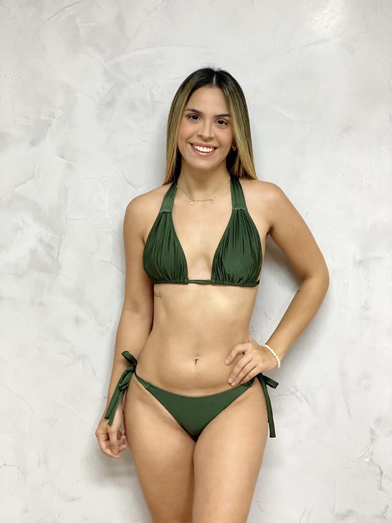 Calcinha Costa Franzida Verde Metalizada