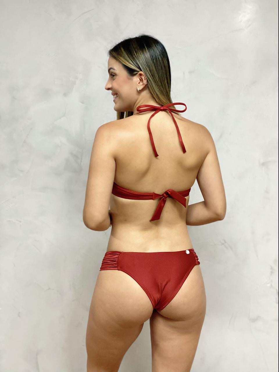 Calcinha Flocada Cobre Metalizado   - RMCE BRAZIL