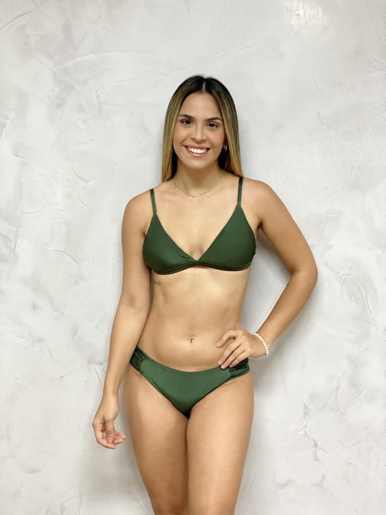 Calcinha Flocada Verde Metalizado
