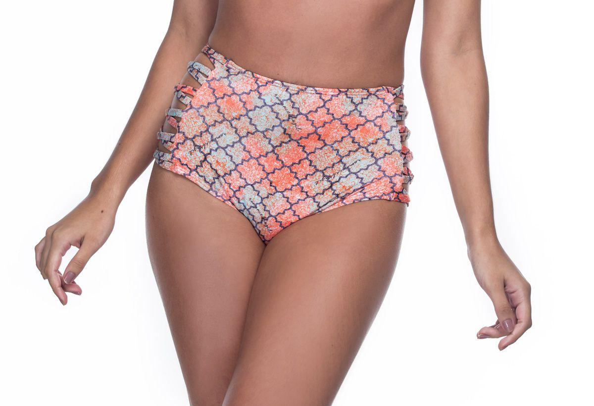 Calcinha Hot Pants Lateral Cruzada Azulejos   - RMCE BRAZIL