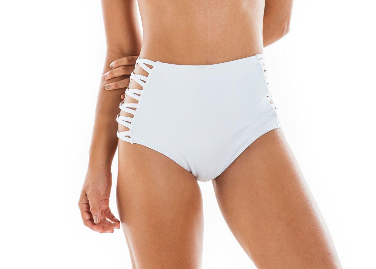 Calcinha Hot Pants Lateral Cruzada Branca
