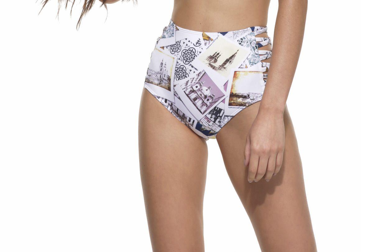 Calcinha Hot Pants Lateral Cruzada Postais Déco