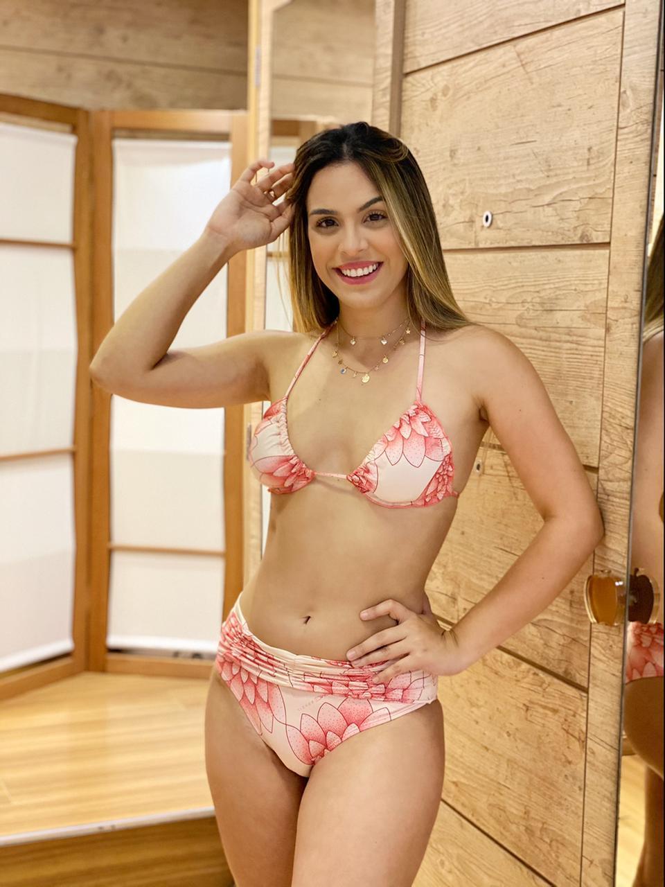 Calcinha  Larga Pala Franzida Flor de Lotus  - RMCE BRAZIL